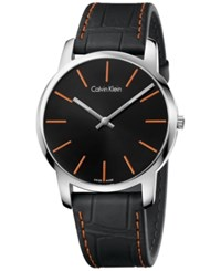 Calvin Klein Men's Swiss City Black Leather Strap Watch 43Mm K2g211c1