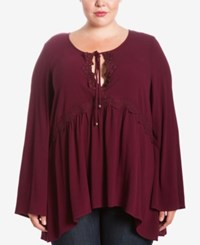 Eyeshadow Trendy Plus Size Keyhole Peasant Top Burgundy Passion