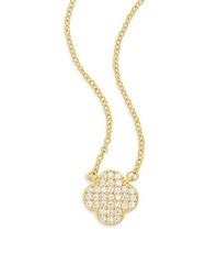 Freida Rothman Pave Clover Sterling Silver And 14K Gold Vermeil Pendant Necklace
