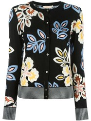 Tory Burch Floral Pattern Cardigan Black