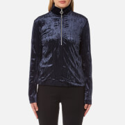 Samsoe And Samsoe Women's Ziva Zip Turtle Neck Top Dark Sapphire Blue