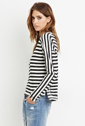 Forever 21 Striped Reverse French Terry Top Black Ivory