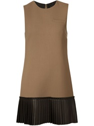 Vera Wang Pleated Hem Shift Dress Brown
