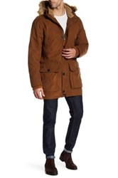 Timberland Scar Ridge Faux Fur Trimmed Waxed Parka Brown