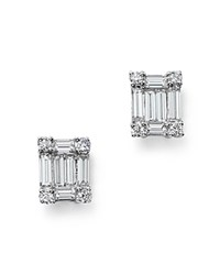 Bloomingdale's Diamond Round And Baguette Stud Earrings In 14K White Gold .75 Ct. T.W.