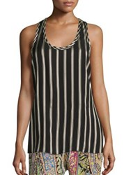 Etro Striped Sleeveless Top Black White