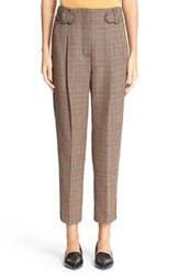 3.1 Phillip Lim Women's Pleated Glen Plaid Crop Wool Pants Brown
