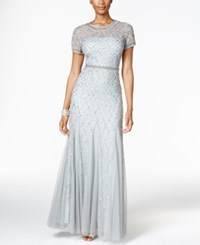 Adrianna Papell Sequined Beaded Gown Blue Mist