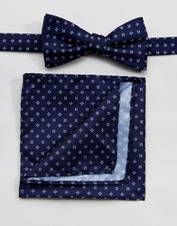 Selected Homme Bow Tie And Pocket Square Comb 7 Dark Navy Multi