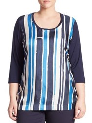 Marina Rinaldi Plus Size Veletta Striped Silk Front Tee Navy Blue