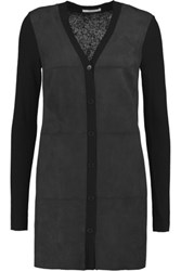 Bailey 44 Paneled Faux Suede And Stretch Knit Cardigan Black