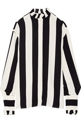 Msgm Ruffle Trimmed Striped Crepe Blouse Ivory