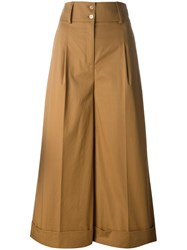 Blumarine Flared Cropped Trousers Brown