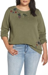 Lucky Brand Plus Size Embroidered Flowers Sweatshirt Olive Knit