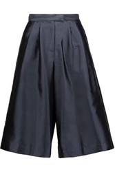 Suno Pleated Silk And Cotton Blend Faille Culottes Midnight Blue