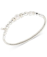 Nine West Silver Tone Beaded Stretch Bracelet