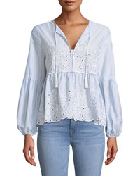 Cynthia Steffe Eyelet Embroidered Balloon Sleeve Blouse Blue