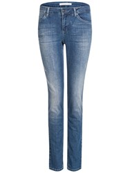 Oui Sienna Slim Denim Jeggings Dark Blue Denim