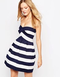 Qed London Striped Bandeau Prom Dress Navy White