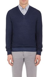Ermenegildo Zegna Men's Wool Silk Pique V Neck Sweater Blue