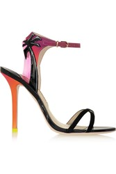 Sophia Webster Malibu Sunset Vinyl Trimmed Patent Leather Suede And Satin Sandals