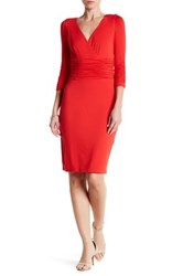 Nue By Shani Surplice Ruched Knit Dress Orange