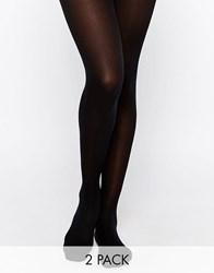Pretty Polly 40 Denier Opaque Tights With Silk Finish 2 Pack Black