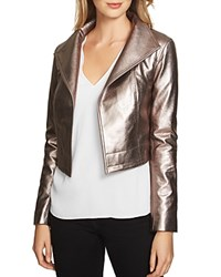 1.State Cropped Metallic Faux Leather Moto Jacket Silver Foil