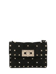 Valentino Mini Spike Quilted Suede Shoulder Bag
