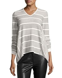French Connection Pinstriped Knit Top Black White