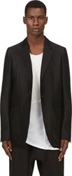 Thamanyah Black Silk Layered Dislocated Shoulder Blazer