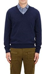 Barneys New York V Neck Sweater Blue