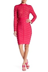 Wow Couture Mesh Contrast Studded Dress Pink