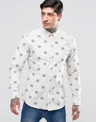 Farah Shirt With Repeat Circle Print In Slim Fit White White