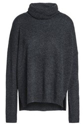 Charli Open Knit Trimmed Cashmere Turtleneck Sweater Charcoal