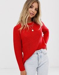 Jdy Crew Neck Knitted Jumper Red