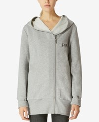 Avec Les Filles Oversized Embroidered Zip Up Cotton Hoodie Heather Grey