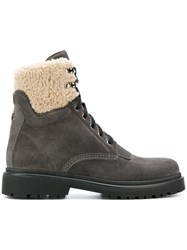 Moncler Patty Shearling Trimmed Ankle Boots Women Leather Suede Rubber 39 Grey