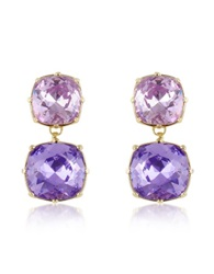 A Z Collection Clip On Drop Earrings Purple