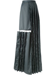 Chalayan Cutout Detail Pleated Long Skirt Grey