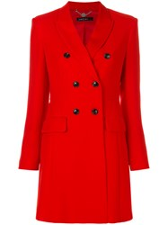 Marc Cain Slim Double Breasted Coat Polyester Cupro Spandex Elastane Red