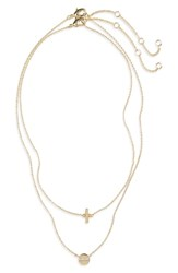 Bp. Layered Charm Necklace Gold Crystal
