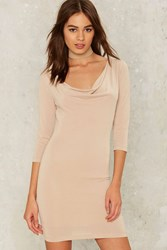 On The Cowl Mini Dress Beige Taupe