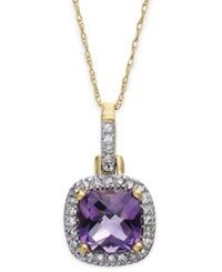 Macy's 10K Gold Necklace Amethyst 4 1 10 Ct. T.W And Diamond Accent Pendant