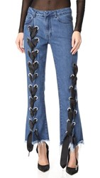 Marques Almeida Cropped Lace Up Capri Denim Trousers Stonewash