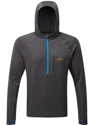 Ronhill Momentum Victory Running Hoodie Charcoal Marl Electric Blue