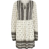 River Island Womens White Long Sleeve Paisley Print Swing Dress