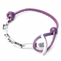 Anchor And Crew Grape Purple Brig Leather Silver Bracelet Pink Purple