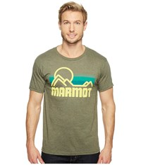 Marmot Coastal Tee S S Olive Heather Men's Short Sleeve Pullover