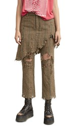 R 13 R13 Double Classic Trousers Brown Houndstooth